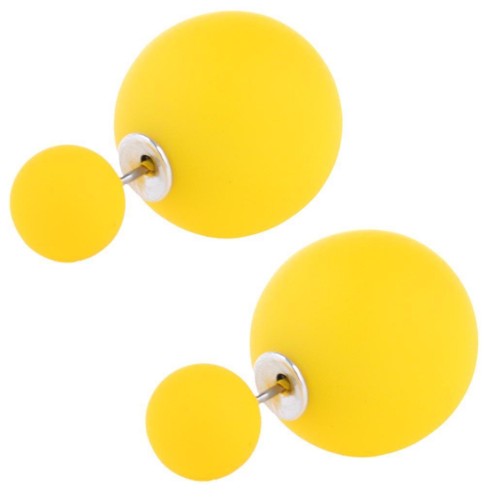 Серьги пусеты Jewels матовые желтого цвета