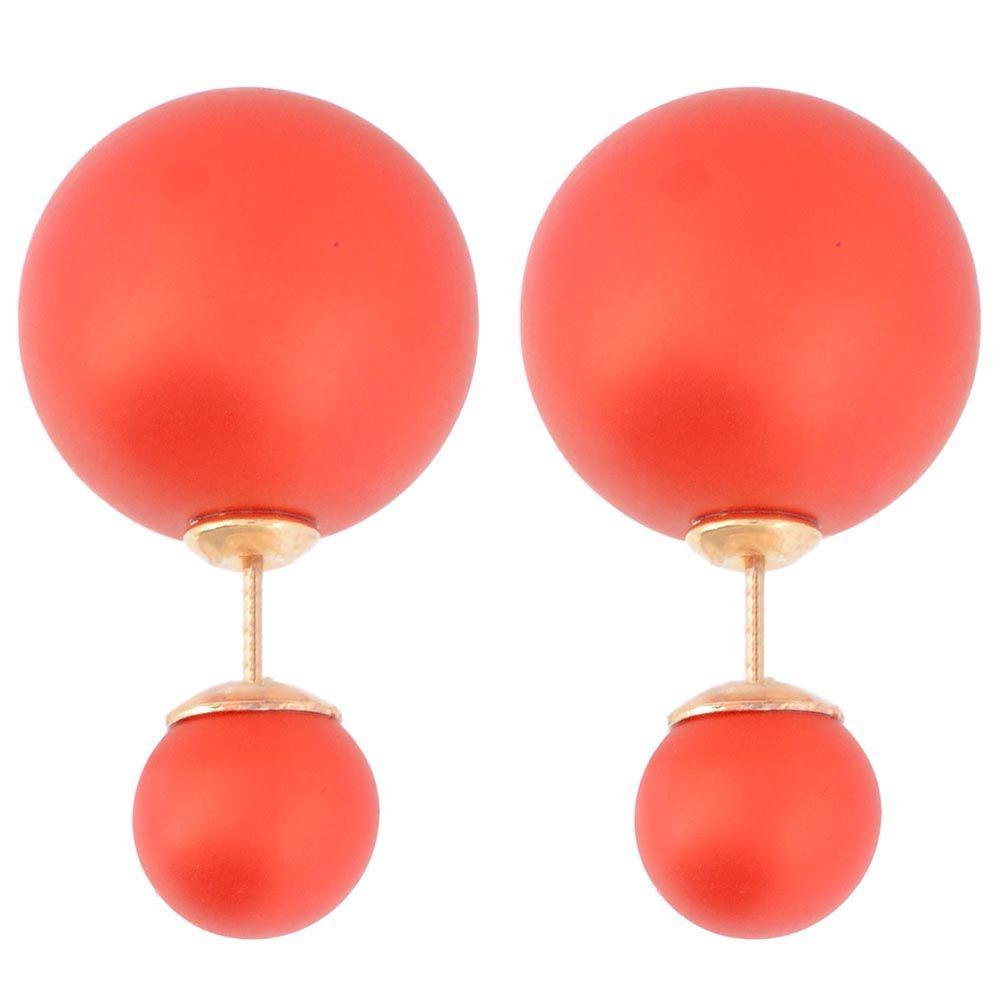 Красные матовые асимметричные серьги-гвоздики