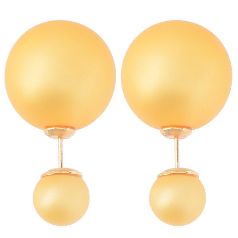 Асимметричные серьги-гвоздики желто-оранжевого цвета матовые