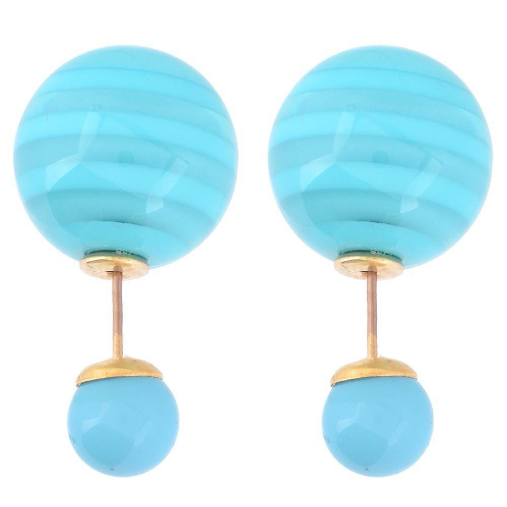 Асимметричные серьги-гвоздики с ярко-голубыми полосатыми бусинами