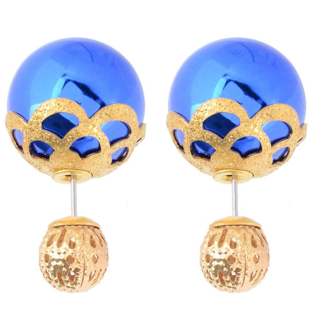 Синие асимметричные серьги-гвоздики с золотистым кружевом