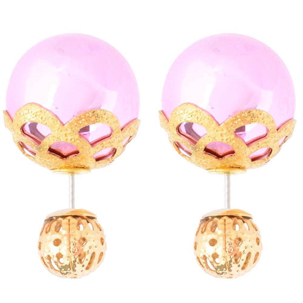 Розовые асимметричные серьги-гвоздики в золотых кружевах