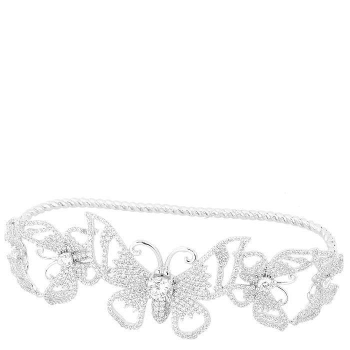 Серебряный наладонный браслет Alibi с бабочками в цирконах