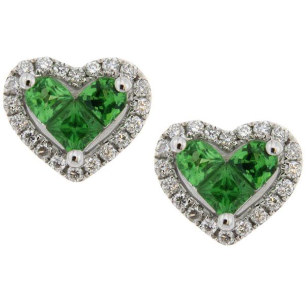 Серьги в виде сердечек D-Donna Ruggero Broggian Cuore с бриллиантами и цаворитами