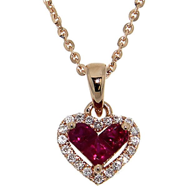 Подвеска в виде сердца D-Donna Ruggero Broggian Cuore из розового золота с бриллиантами и рубином