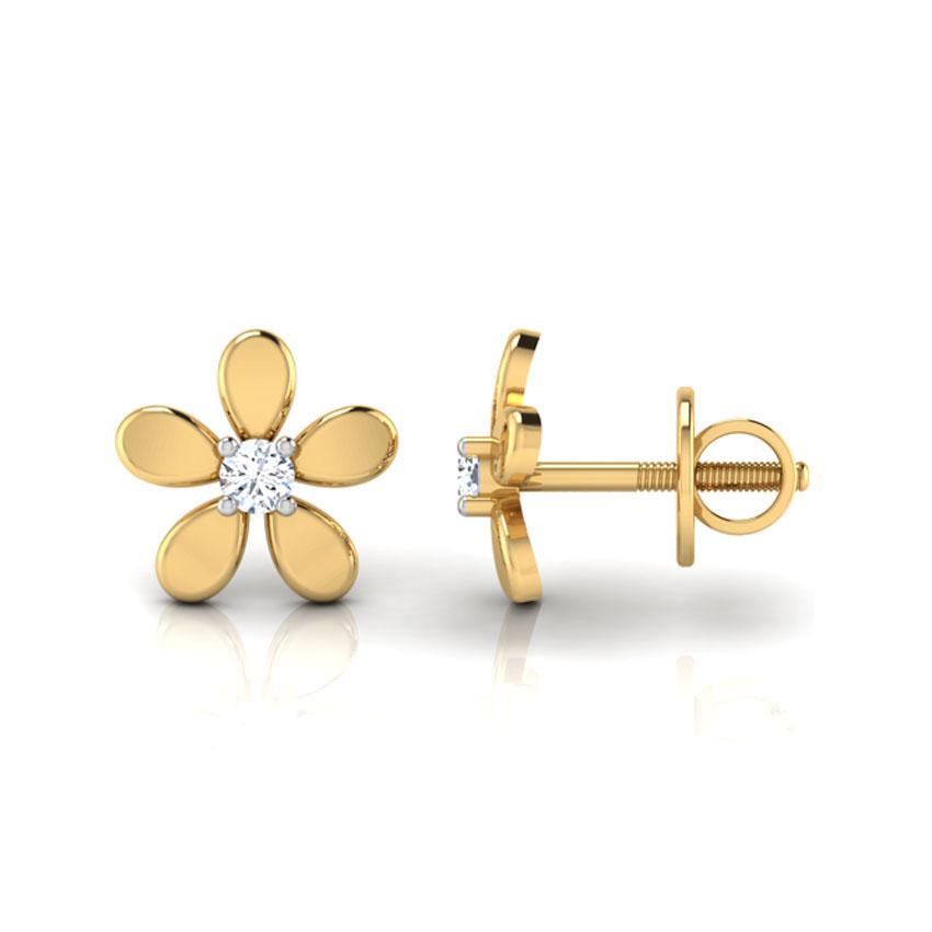 Золотые серьги-пусеты Perfecto Jewellery Kids Collection в виде цветочков с бриллиантами je00150-ygp900