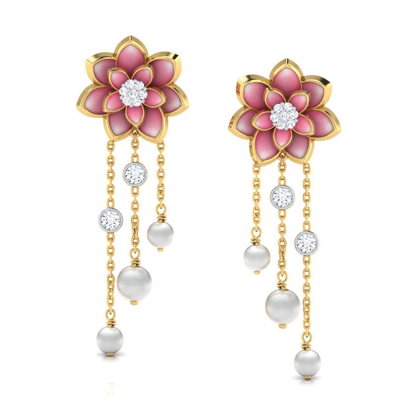 Золотые серьги-пусеты с подвесками Perfecto Jewellery с жемчугом и бриллиантами je03249-ygp9pl