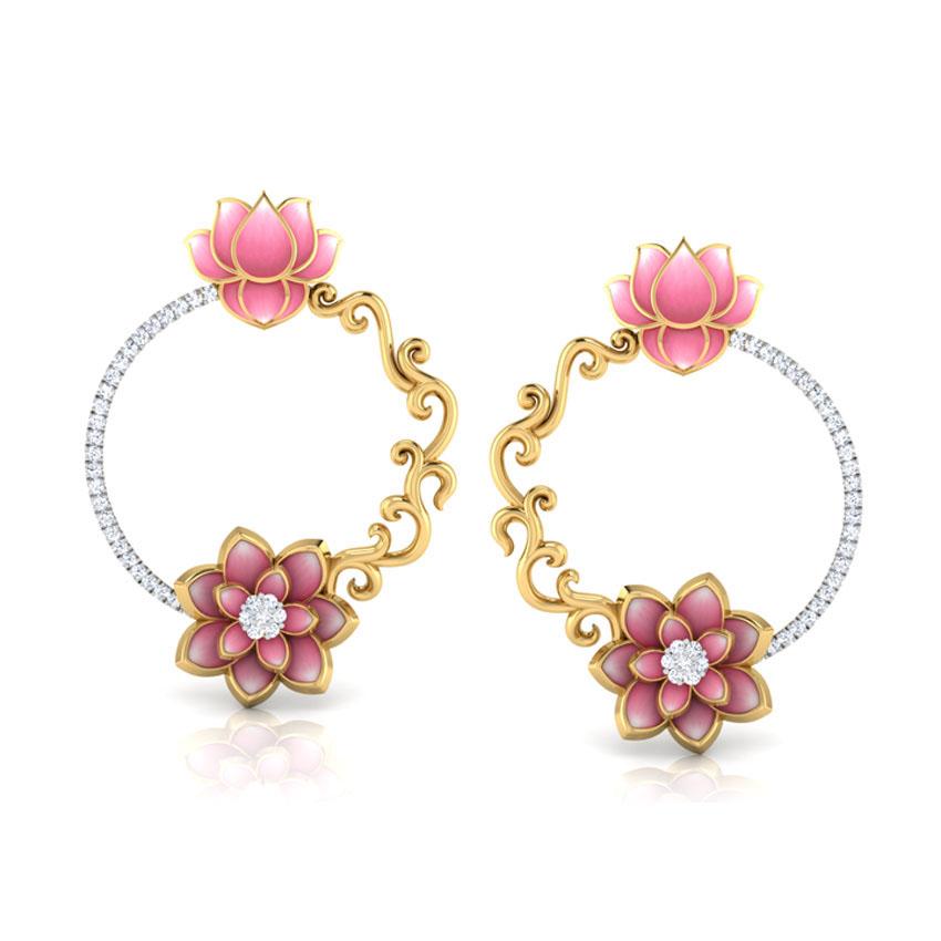 Золотые серьги Perfecto Jewellery в виде колец с цветком лотоса инкрустированные бриллиантами je03250-ygp900