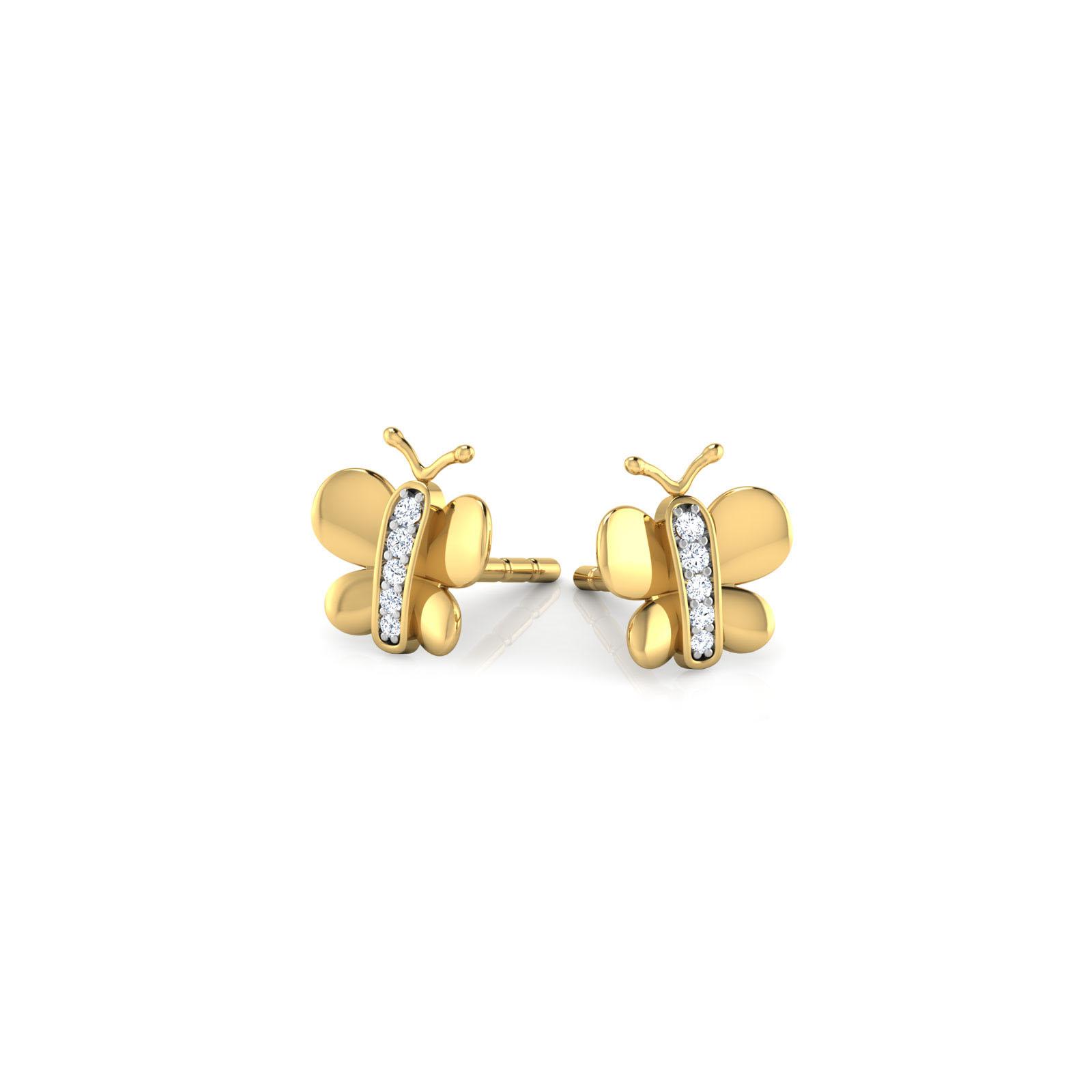 Серьги-пусеты из желтого золота Perfecto Jewellery Kids Collection в форме бабочек с бриллиантами je03501-ygp900