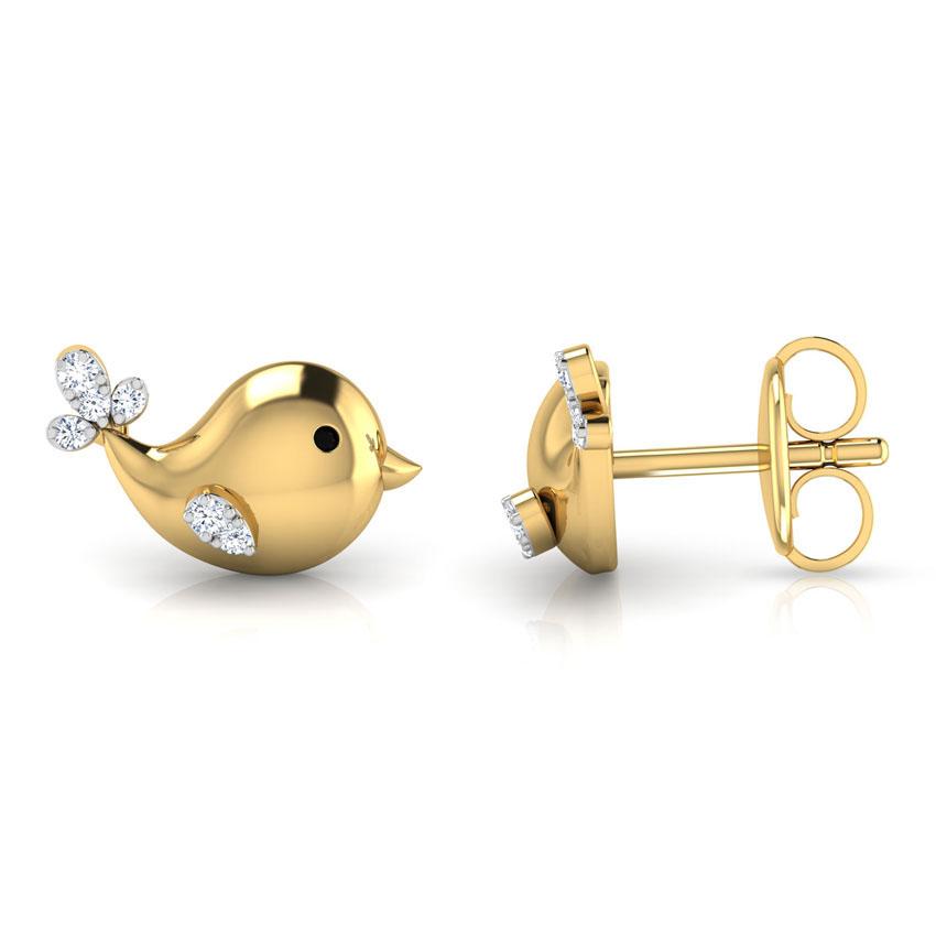 Золотые серьги Perfecto Jewellery Kids Collection Птички с бриллиантами je03513-ygp9by