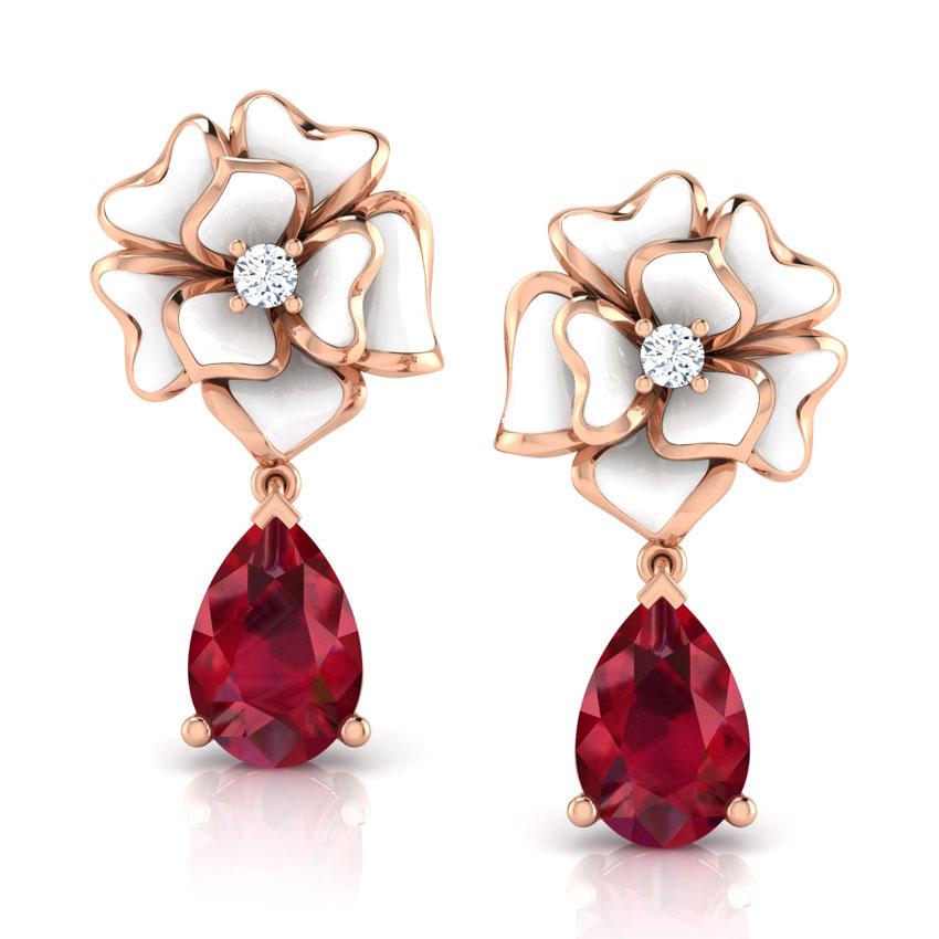 Золотые серьги Perfecto Jewellery с бриллиантом и подвеской с рубином je03608-rgp9wp