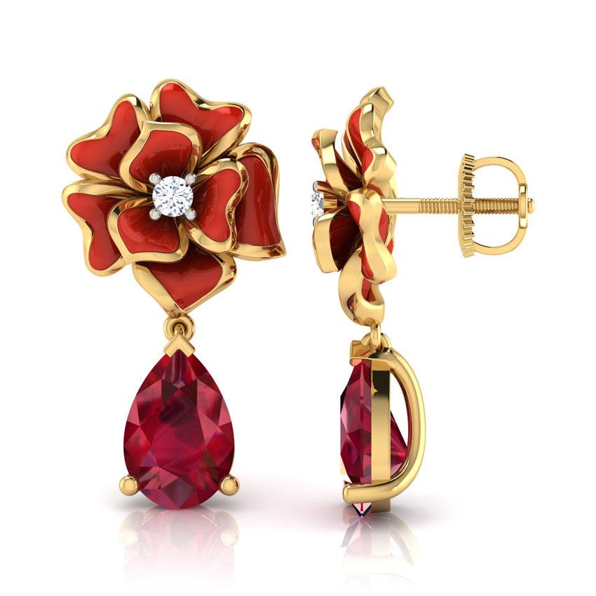 Серьги из золота Perfecto Jewellery с бриллиантами и рубином je03608-ygp9rp
