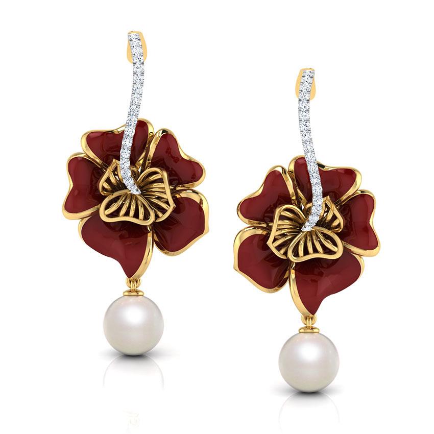 Серьги-пусеты из желтого золота Perfecto Jewellery с жемчугом и бриллиантами je03609-ygp9np