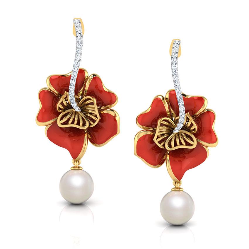 Золотые серьги-пусеты Perfecto Jewellery с бриллиантами и жемчугом je03609-ygp9rp