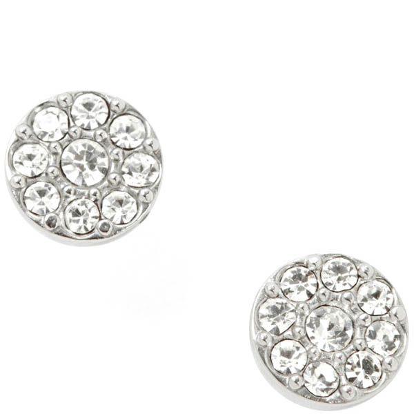 Серьги-гвоздики FOSSIL круглые с кристаллами Сваровски