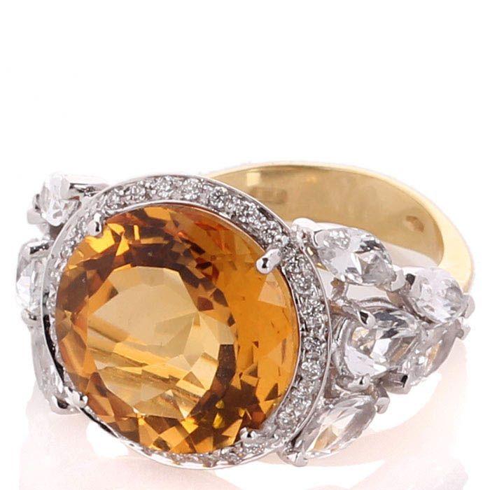 Кольцо Falcinelli с бриллиантами топазами и крупным цитрином