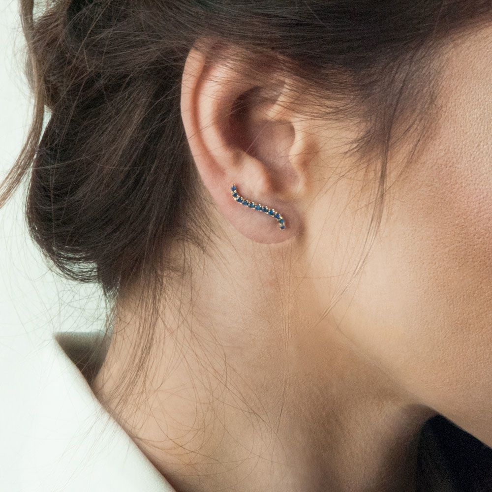 Золотая моно-серьга с сапфирами Jealous Jewelry Blue wave