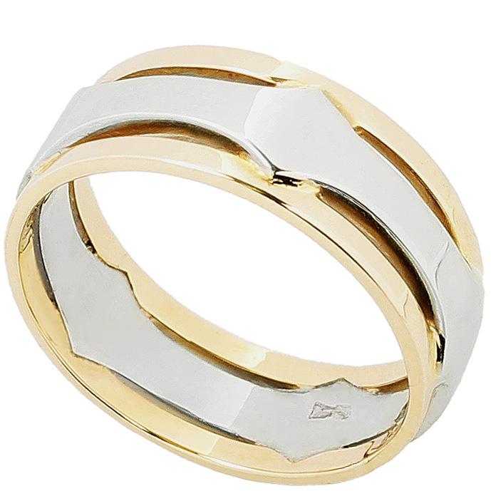 Пара обручальных колец из лимонного и белого золота Kiev Jewelry k0060-1 с фианитами