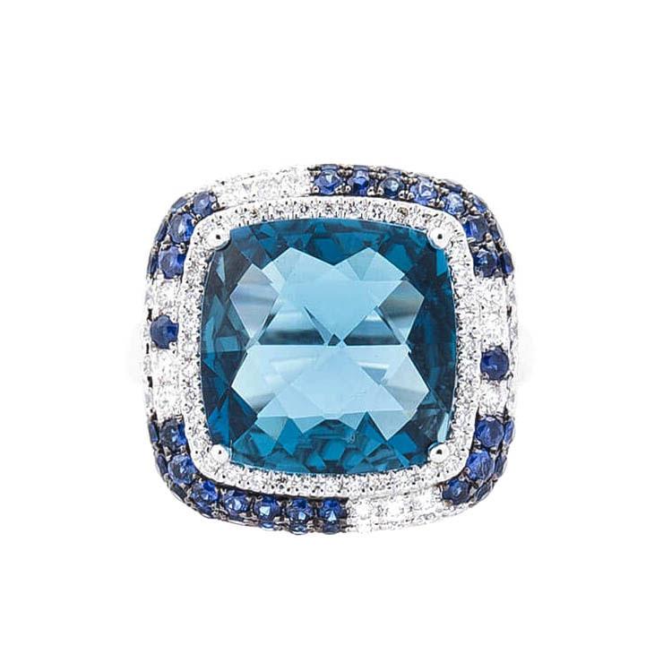 Золотой перстень с топазом Лондон голубой