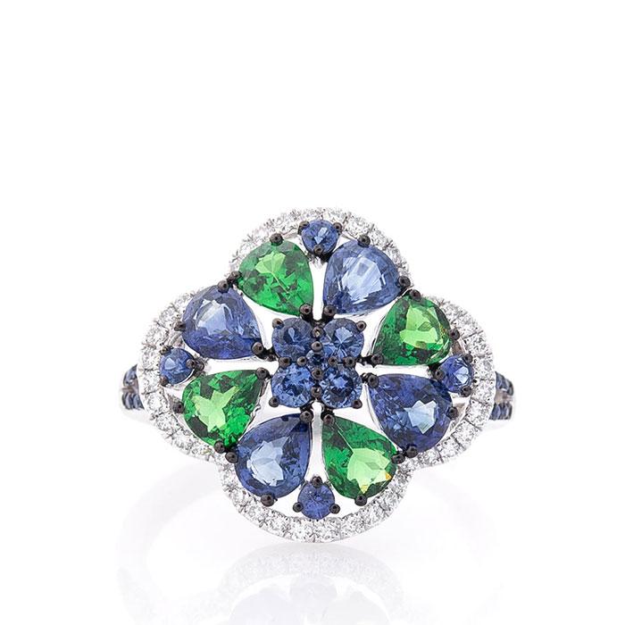 Золотое кольцо Оникс с зеленым уваровитом