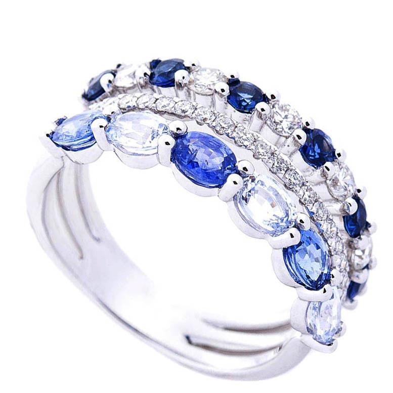 Трехрядное кольцо Оникс с бриллиантами и сапфирами