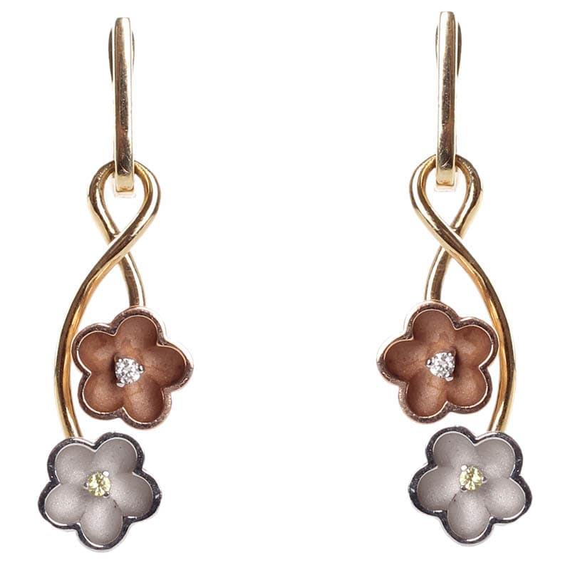 Золотые серьги-подвески Roberto Bravo Kareena с цветами и бриллиантами