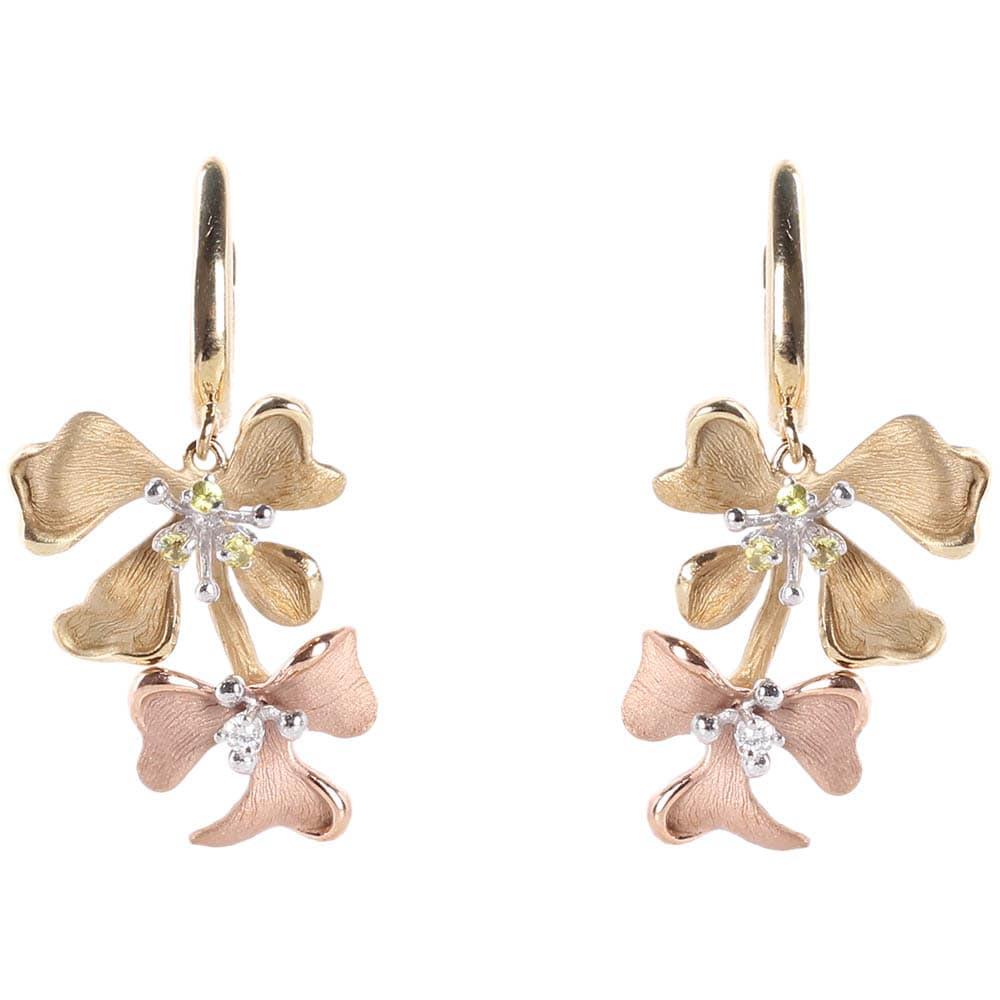Золотые серьги-подвески Roberto Bravo Kareena с цветами маттиолы и бриллиантами