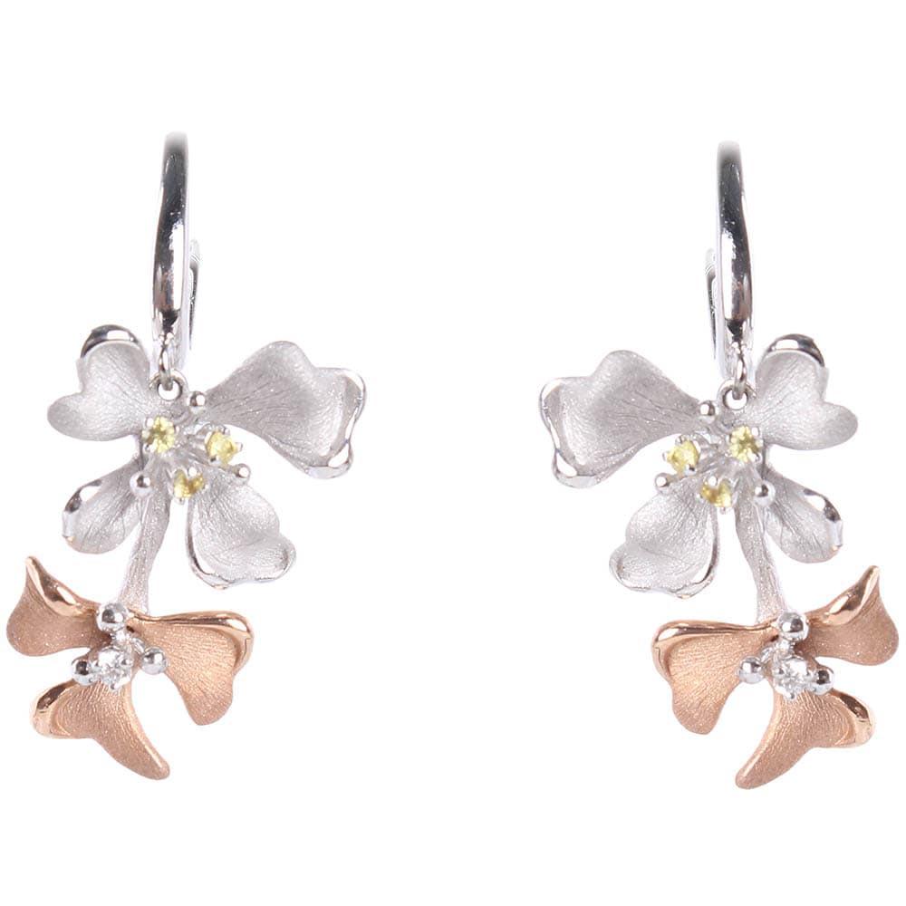 Серьги-подвески Roberto Bravo Kareena с цветами маттиолы и бриллиантами
