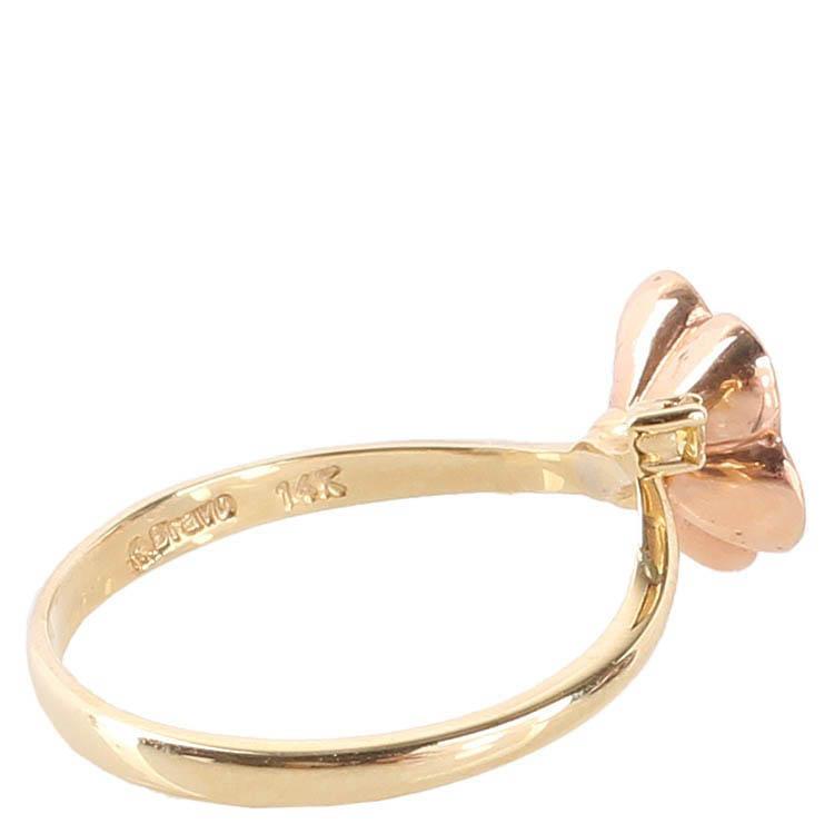 Золотое тонкое кольцо Roberto Bravo Kareena с бежевым цветком и бриллиантом