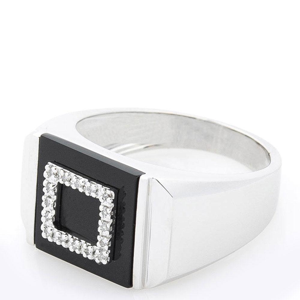 Мужская печатка Оникс с бриллиантами и черным ониксом