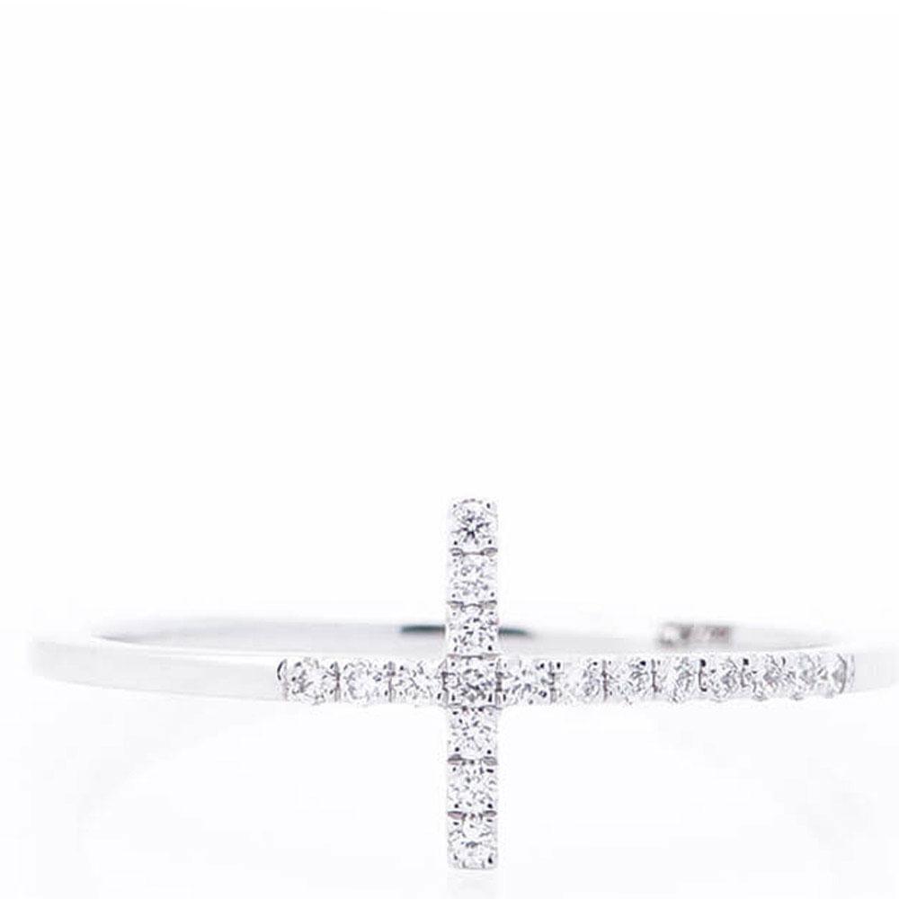 Тонкое кольцо Оникс Крест с бриллиантами
