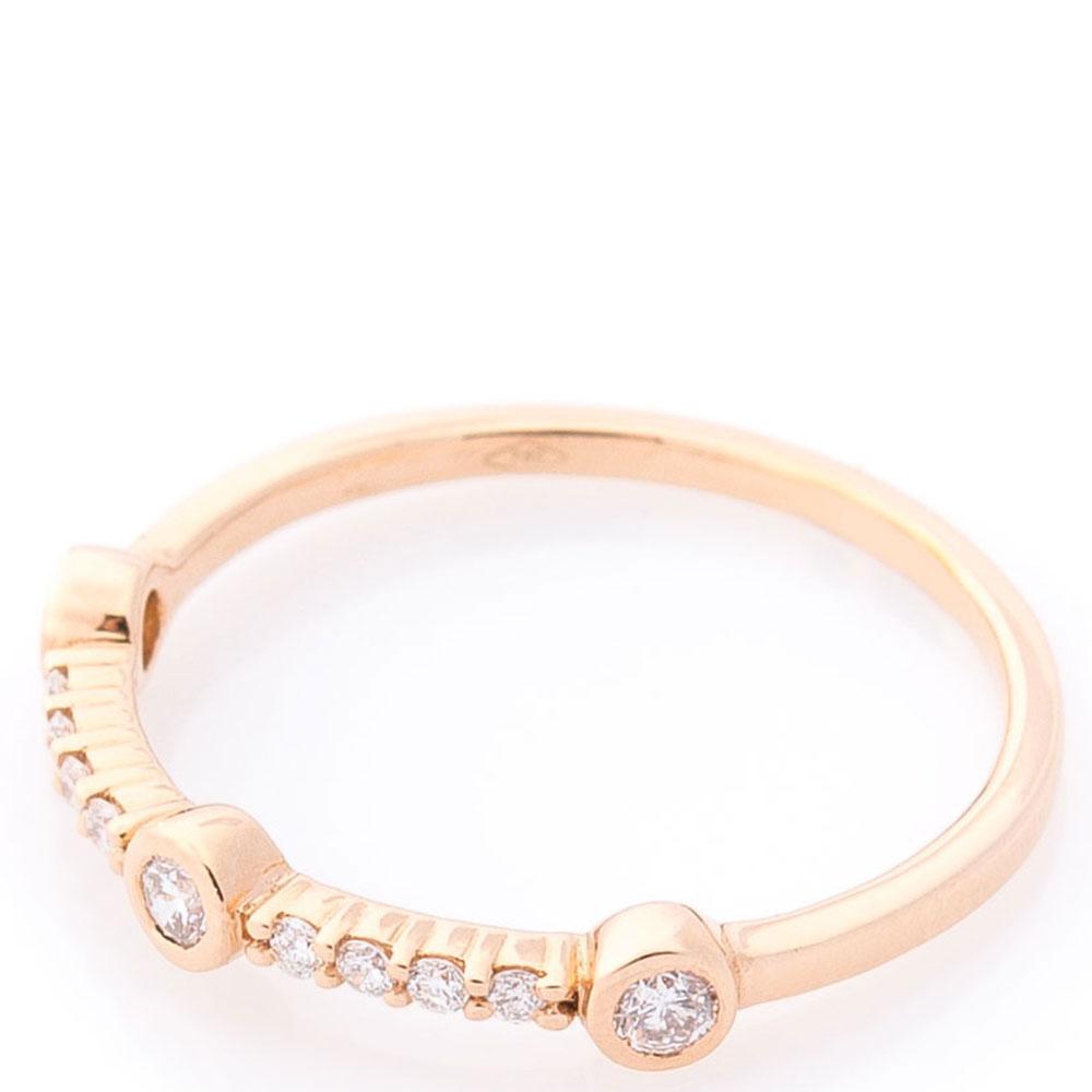 Кольцо из красного золота с белыми бриллиантами