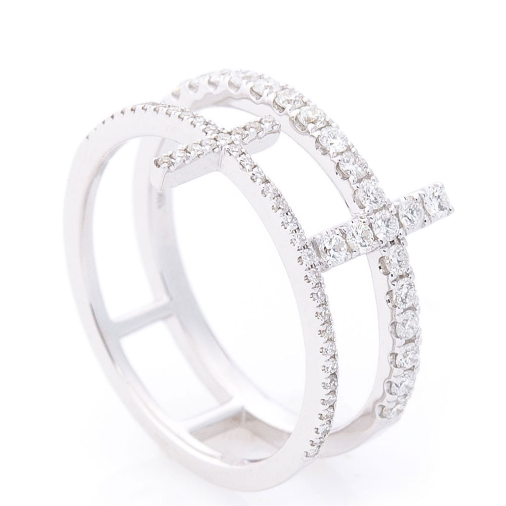 Кольцо двойное Оникс в белых бриллиантах