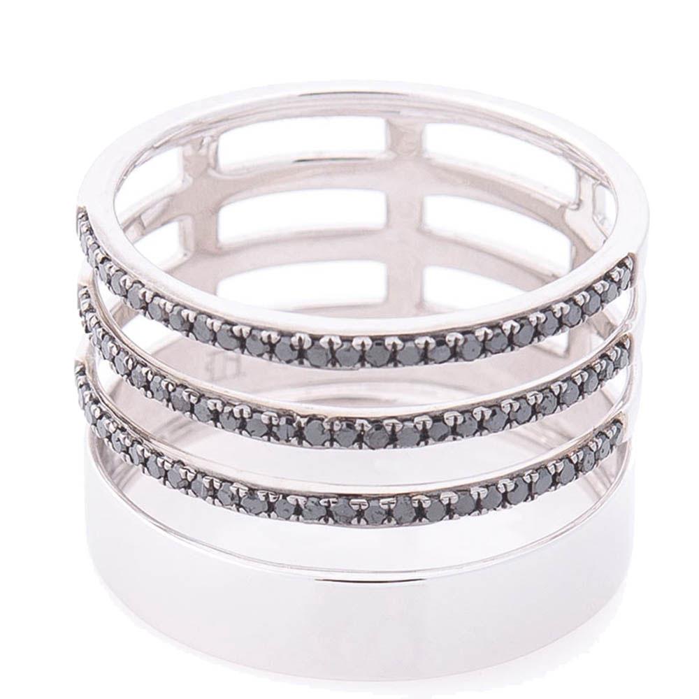 Широкое кольцо Оникс с черными бриллиантами