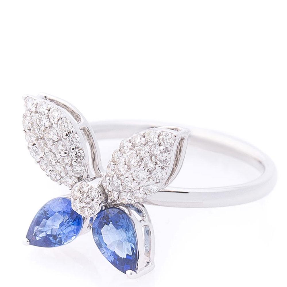 Кольцо Оникс Бабочка в сапфирах и бриллиантах