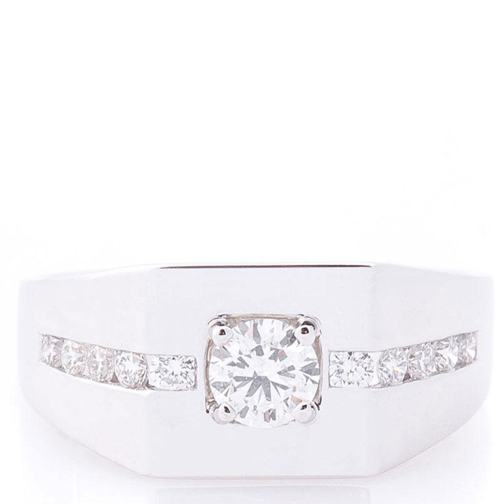 Кольцо-печатка Оникс с белыми бриллиантами