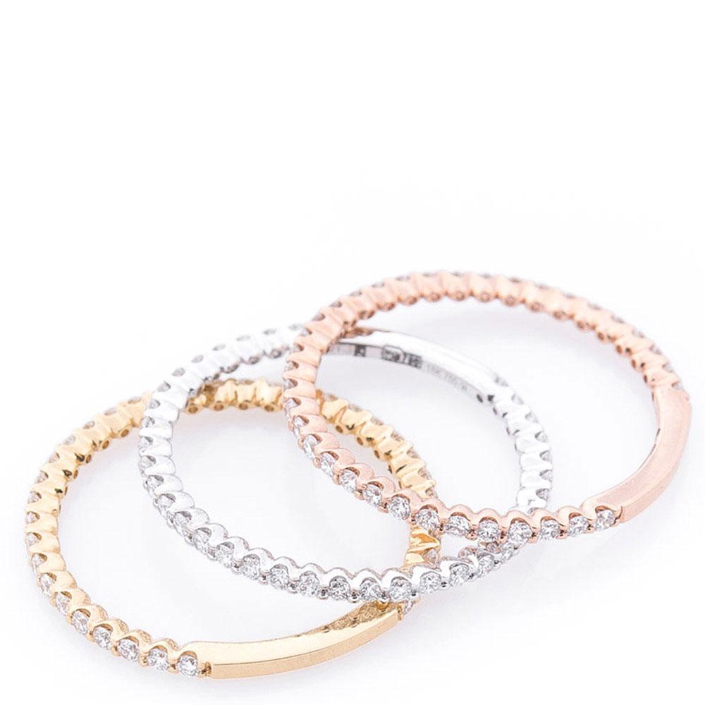 Тройное кольцо Оникс с бриллиантами