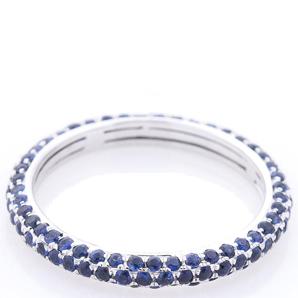 Кольцо Оникс с синими сапфирами