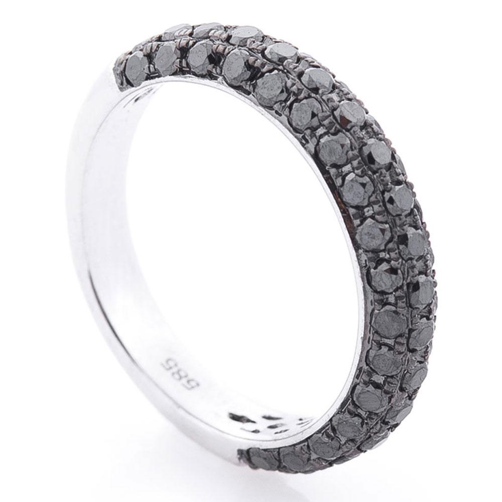 Женское кольцо Оникс с черными бриллиантами