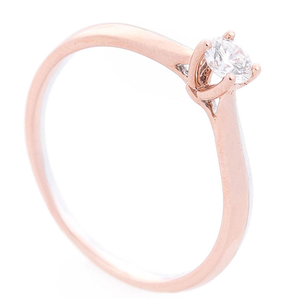 Кольцо с бриллиантом Оникс из белого и красного золота
