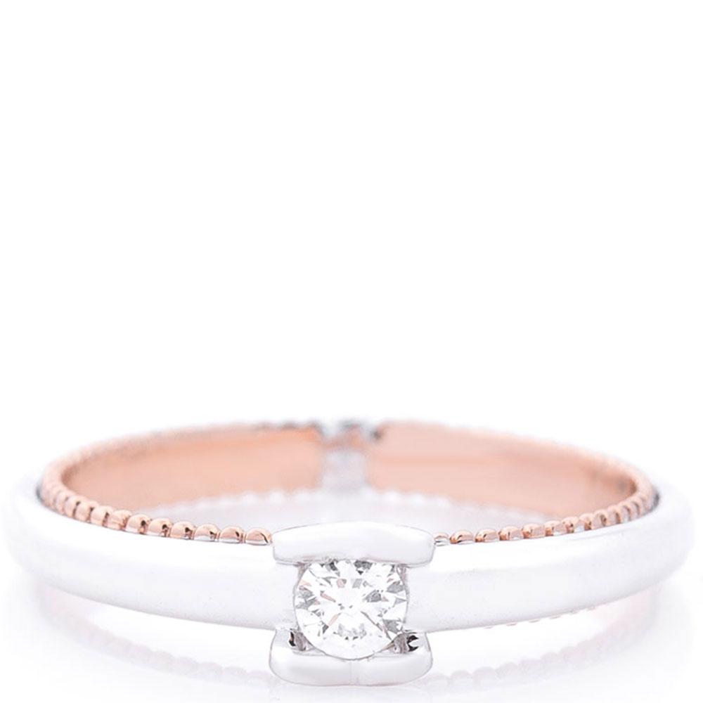 Помолвочное кольцо Оникс из белого и красного золота
