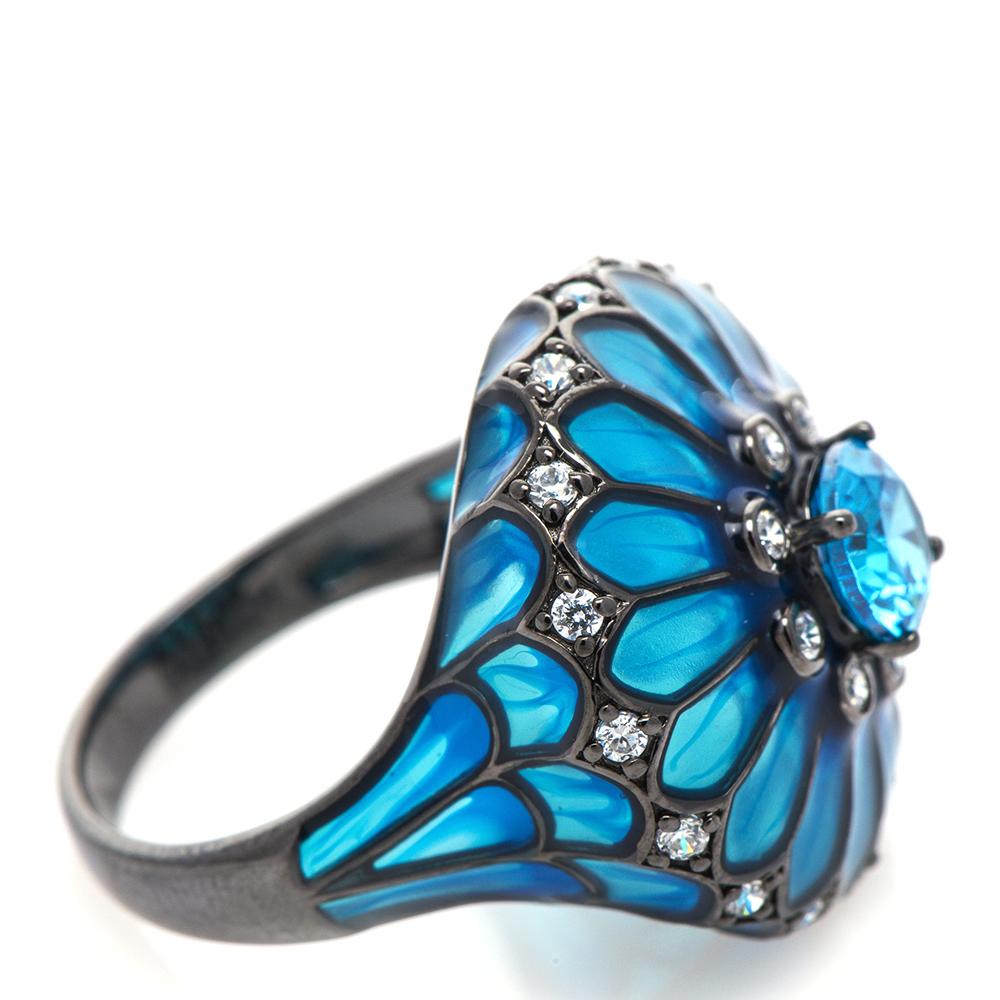 Кольцо 935 by Roberto Bravo с голубой прозрачной эмалью