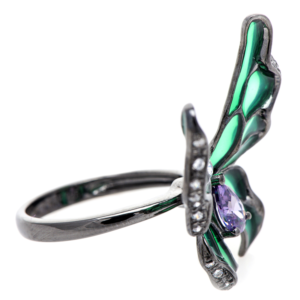 Кольцо 935 by Roberto Bravo с бабочкой зеленого цвета