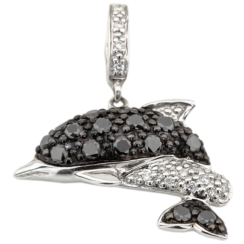 Золотая подвеска в виде дельфина с бриллиантами