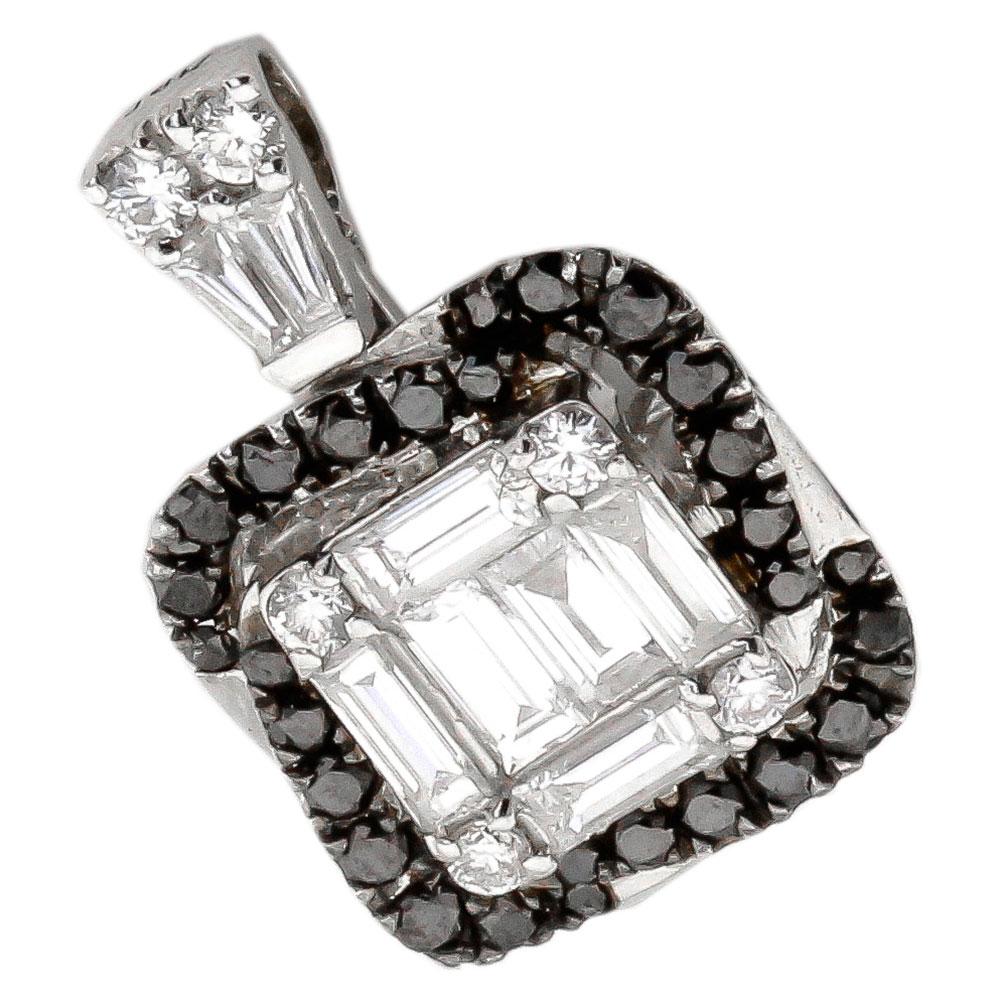 Золотой кулон с белыми и черными бриллиантами