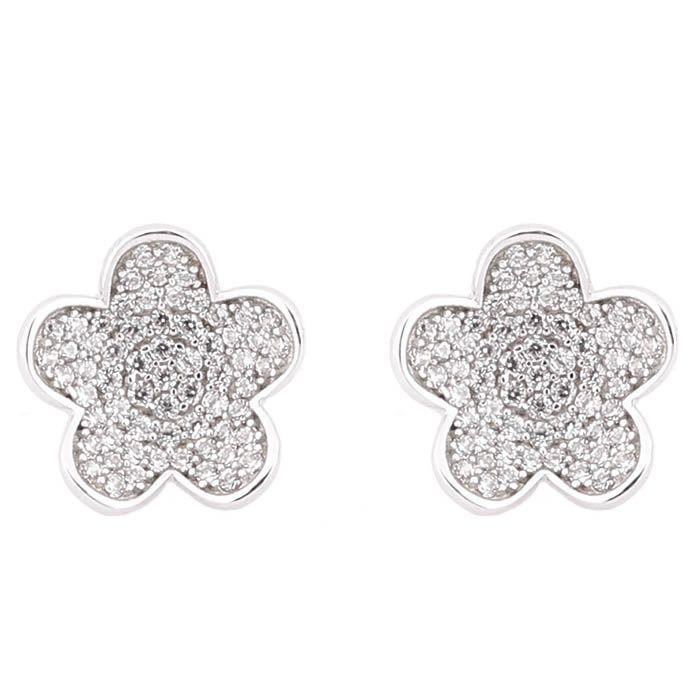 Серьги Alibi серебряные цветочки инкрустированные цирконами