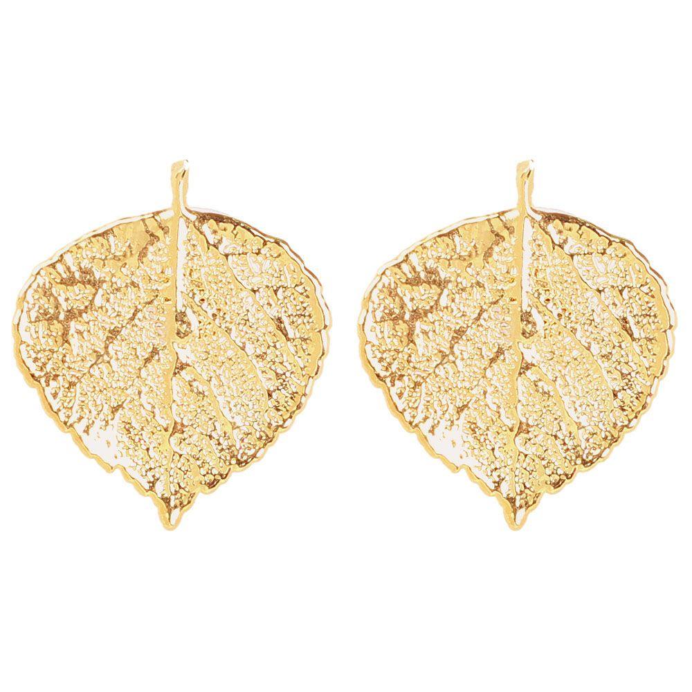 Серьги-гвоздики Ester Bijoux из листочков осины в позолоте