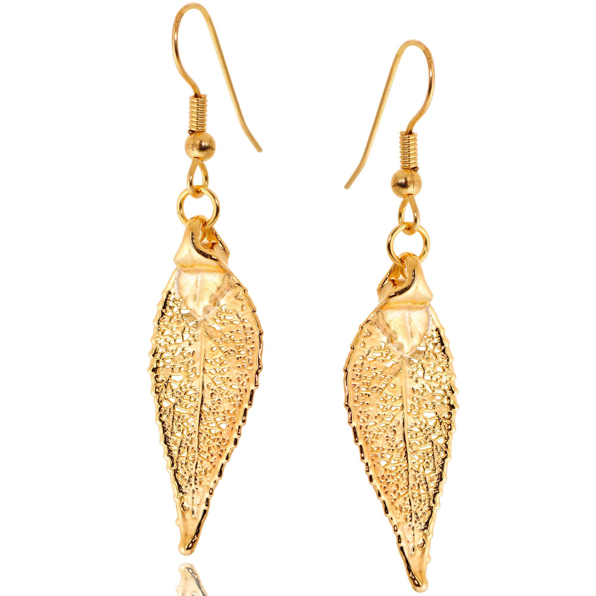 Серьги Ester Bijoux Лист черешни в золоте