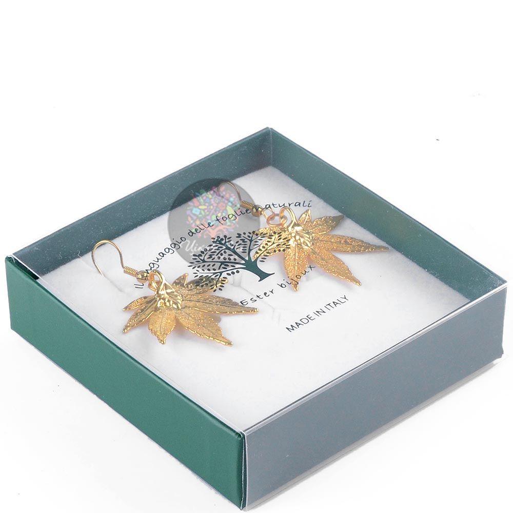 Серьги Ester Bijoux Лист японского клена в золоте