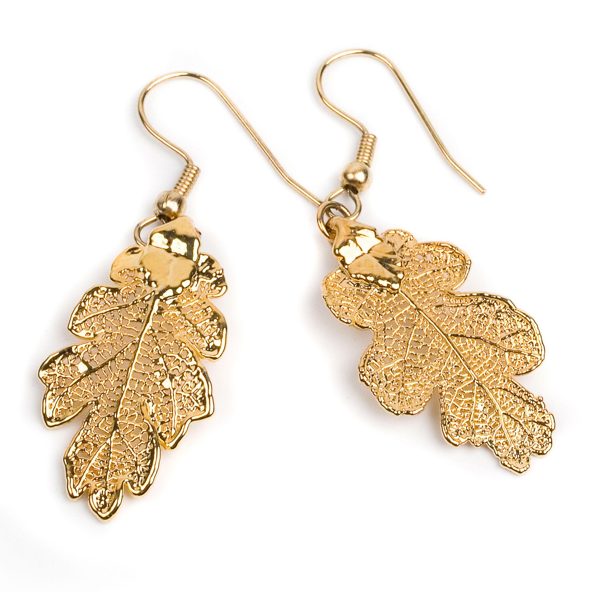 Серьги Ester Bijoux Дубовый листок в золоте